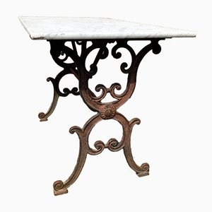 Antique French Cast Iron & Marble Bistro Table, 1900s