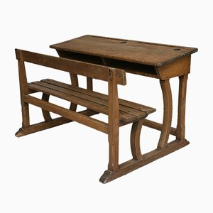Antique German Oak Children's Desk with Bench