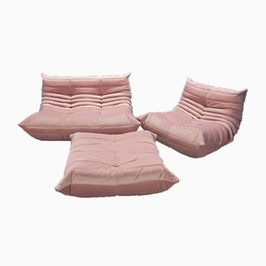 Vintage Pink Velvet Togo Living Room Set by Michel Ducaroy for Ligne Roset, 1980s, Set of 3
