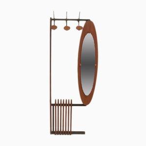 Perchero francés de hierro, espejo y laca, años 60