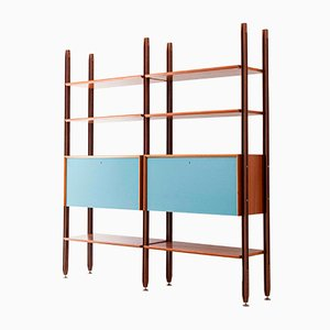 Mid-Century Italian Metal and Teak Modular Bookcase, 1960s