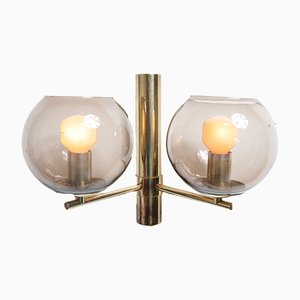 Brass and Smoked Glass Sconce by Hans Agne Jakobsson for Markaryd, 1960s