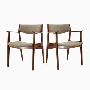 Mid-Century Danish Fabric and Teak Armchairs, 1960s, Set of 2