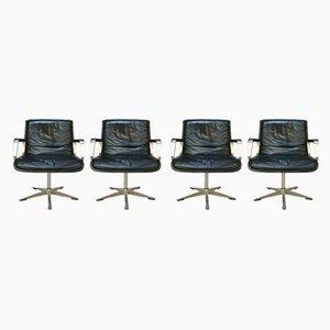 Deutsche Programm 2000 Esszimmerstühle mit Gestell aus Aluminium & Ledersitz von Delta Design für Wilkhahn, 1960er, 4er Set