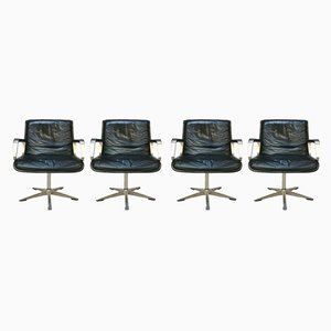 German Aluminum and Leather Programm 2000 Dining Chairs by Delta Design for Wilkhahn, 1960s, Set of 4