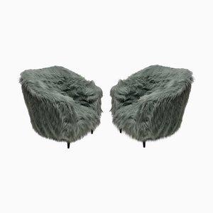 Italienische Mid-Century Sessel mit Kunstfellbezug & Füßen aus Buche, 1950er, 2er Set