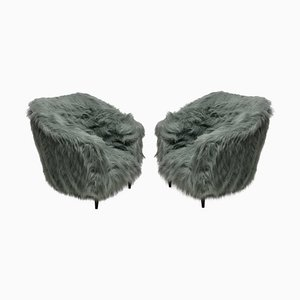Mid-Century Italian Beech & Faux Fur Armchairs, 1950s, Set of 2