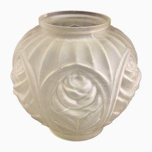 Französische Art Déco Vase mit geometrischem Rosenmotiv, 1930er