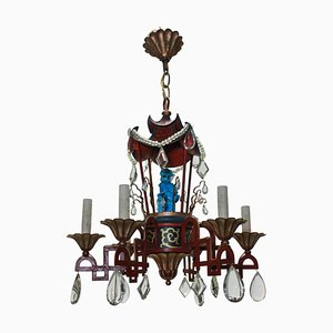 Vintage Galvanized Metal Chandelier, 1930s