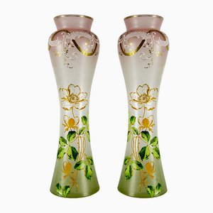 Art Nouveau French Colored Glass Vases, 1920s, Set of 2