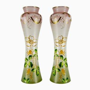 Jarrones franceses modernistas de vidrio coloreado, años 20. Juego de 2