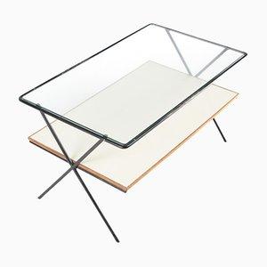 Mesa de centro minimalista de vidrio y roble, años 50