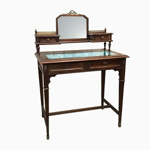 Antique Art Nouveau Brass, Glass, and Wood Dressing Table