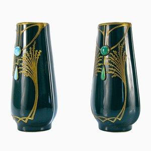 Vases Art Nouveau Antique en Céramique Verte, Set de 2