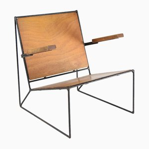 Mid-Century Beech and Steel Bar Lounge Chair, 1950s