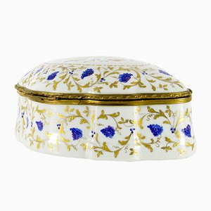 Large French Porcelain Hand Painted Trinket Box from Le Tallec, 1970s