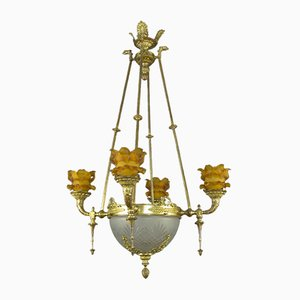 Antique Empire French Bronze and Frosted Glass 8-Light Chandelier