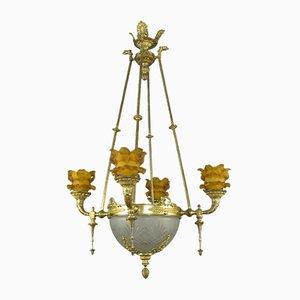 Lámpara de araña francesa estilo imperio antigua de bronce y vidrio esmerilado de 8 luces