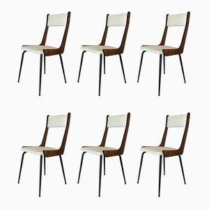 Italienische Mid-Century Esszimmerstühle aus Holz & Eisen, 1960er, 6er Set