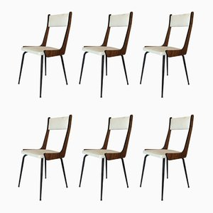 Mid-Century Italian Wood & Iron Dining Chairs, 1960s, Set of 6