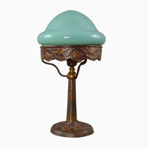 Antike Jugendstil Tischlampe aus Kupfer und Türkisglas