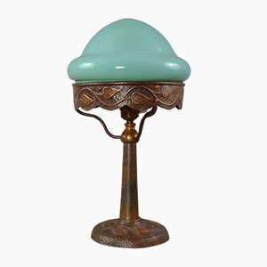 Antique Art Nouveau Copper and Turquoise Glass Table Lamp