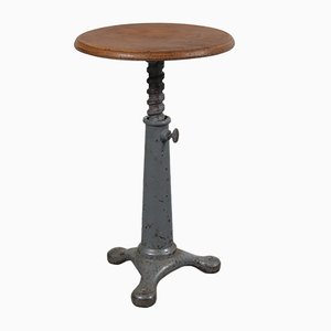 French Cast Iron and Wood Industrial Stool from Singer, 1930s