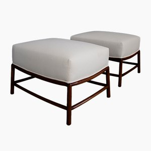 Cotton & Walnut Ottomans by T. H. Robsjohn-Gibbings, 1950s, Set of 2