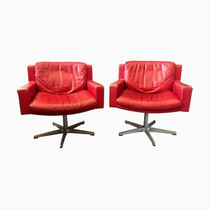 RH201 Red Leather Swivel Armchairs from de Sede, 1950s, Set of 2