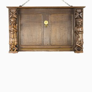 Late 19th-Century Dutch Hand Carved Oak and Brass Wall Rack