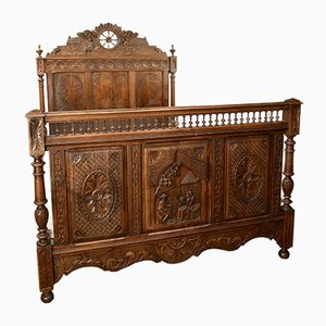 Antique Carved Oak Double Bed