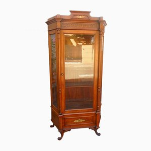 Antique Italian Glass and Walnut Showcase Cabinet