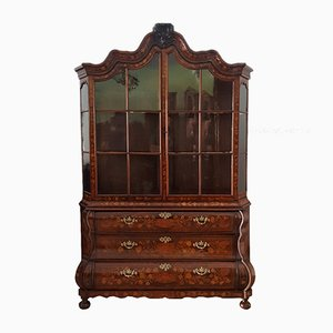 18th Century Louis XV Dutch Inlaid Walnut Showcase Cabinet