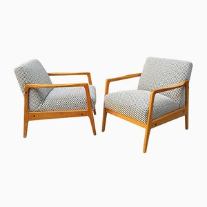 Italian Teak and Textile Lounge Chairs, 1960s, Set of 2