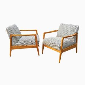 Italienische Sessel aus Teak & Stoff, 1960er, 2er Set