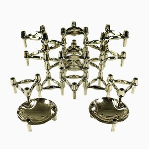 German Chrome Modular Candleholders from BMF, 1970s, Set of 20