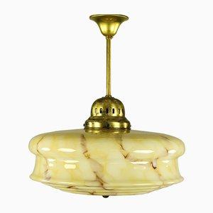 Deutsche Mid-Century Art Déco Deckenlampe aus gelbem Glas und Metall