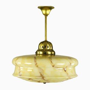 Mid-Century Art Deco German Yellow Glass and Metal Ceiling Lamp