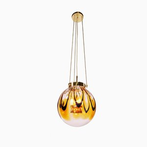 Lámpara de techo alemana de latón y cristal de Murano ámbar de Kaiser Idell / Kaiser Leuchten, años 60
