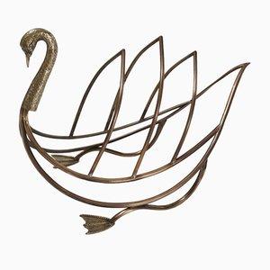 French Brass Swan Magazine Rack from Maison Jansen, 1960s