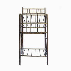 Antique Brass and Mahogany Magazine Rack, 1900s