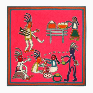 Pintura vintage de hilo mexicano de Emeteria Rios Martinez