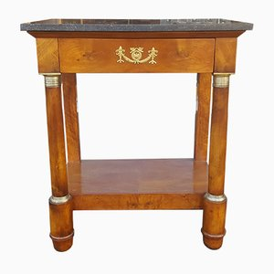 19th Century Empire French Mahogany and Marble Console Table
