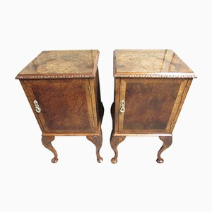 Vintage Walnut Nightstands, 1920s, Set of 2