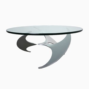 Industrial German Aluminum and Glass K9 Propeller Coffee Table by Knut Hesterberg for Ronald Schmitt, 1960s