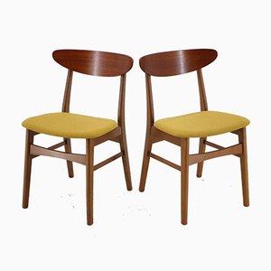 Chaises de Salle à Manger en Hêtre et Teck de Fastrup, Danemark, 1960s, Set de 4