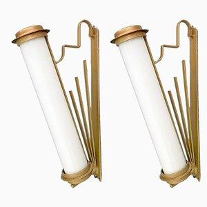 Apliques italianos vintage de vidrio y hierro, años 30. Juego de 2