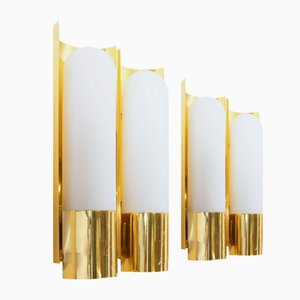 German Brass and Opaline Glass Sconces from Glashütte Limburg, 1970s, Set of 2