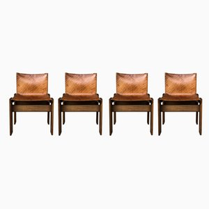 Italian Cognac Leather & Walnut Monk Chairs by Tobia & Afra Scarpa for Molteni, 1973, Set of 4