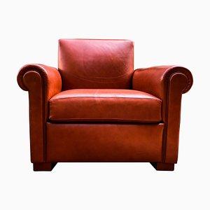 Italienischer Sessel aus Buche & Leder, 1970er
